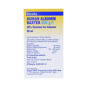 Human Albumin Baxter 200G-l 20% 50Ml (Hộp 1 chai 50ml)