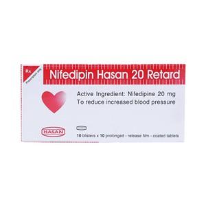 Nifedipin 20 Hasan (Hộp 10 Vỉ X 10 Viên)