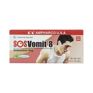 Sos Vomit 8 Ampharco 3X10 - Bạc Hà (Hộp 3 Vỉ x 10 Viên)