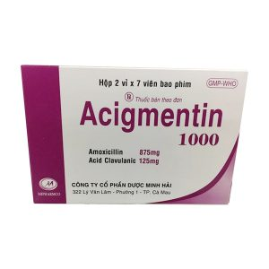 Acigmentin 1000 hộp 14v Minh Hải (Hộp 2 vỉ x 7 viên)