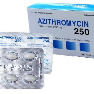 Azithromycin 250 Hậu Giang (Hộp 1 vỉ x 6 viên)