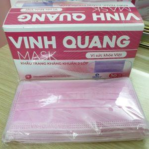 Khẩu trang 3 lớp hồng Vinh Quang (hộp 50 chiếc)
