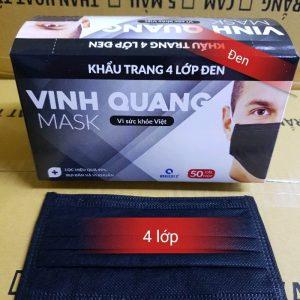 Khẩu trang 4 lớp ĐEN CAO CẤP Vinh Quang (hộp 50 chiếc)
