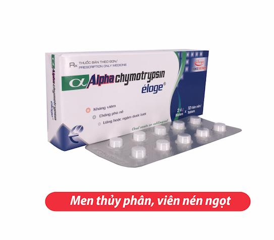 Alphachymotripsin Éloge (Hộp 2 vỉ x 10 viên nén)